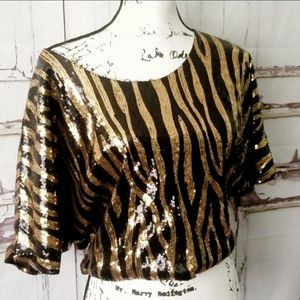 Cropped Blouse Sequins Tiger print Party fun